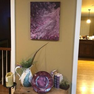 Beautiful canvas art with matching plate and stand